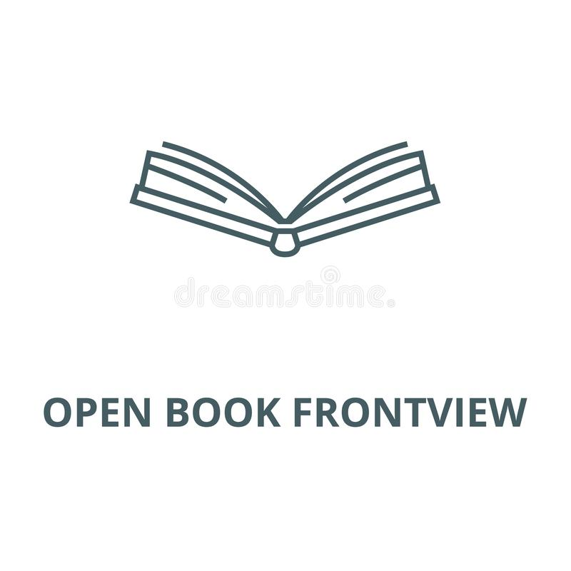 Open book frontview vector line icon, linear concept, outline sign, symbol royalty free illustration