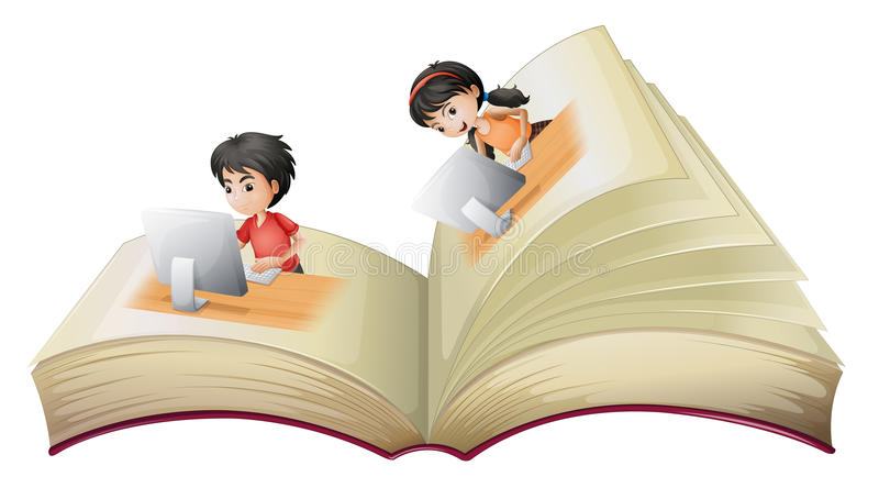 An open book with a girl and a boy with computers royalty free illustration
