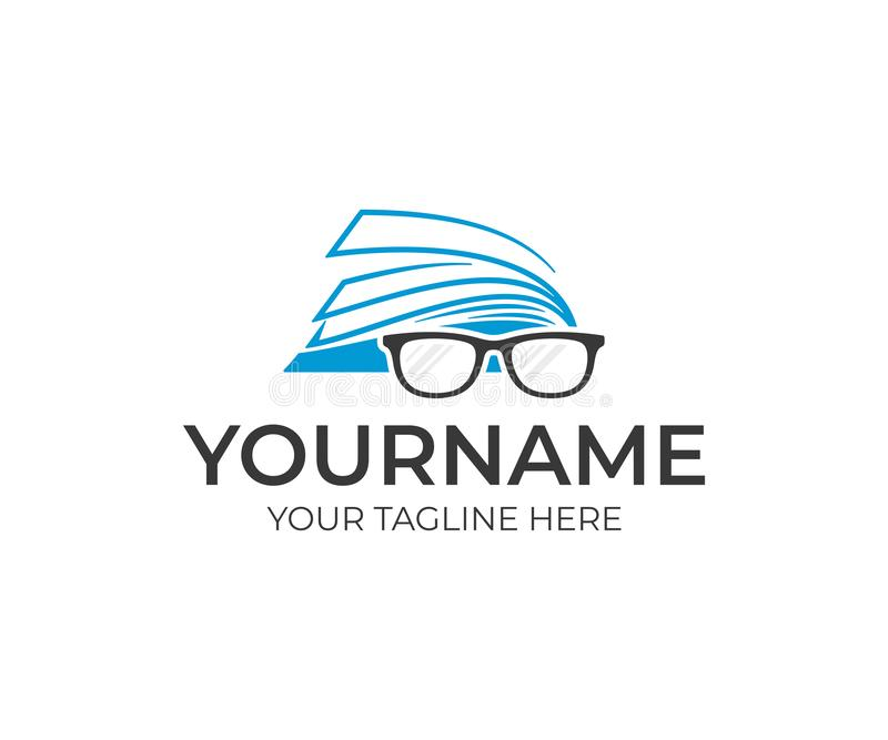 Open book and glasses logo design. Education vector design stock illustration