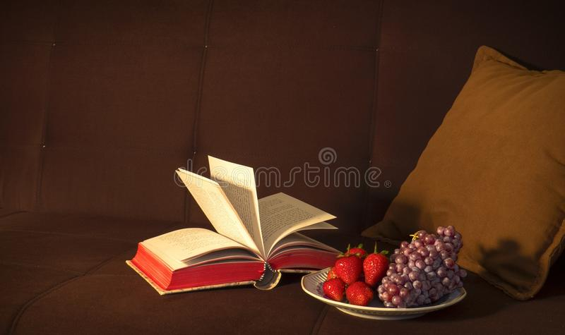 Open Book Beside Grape Fruit And Strawberry Free Public Domain Cc0 Image