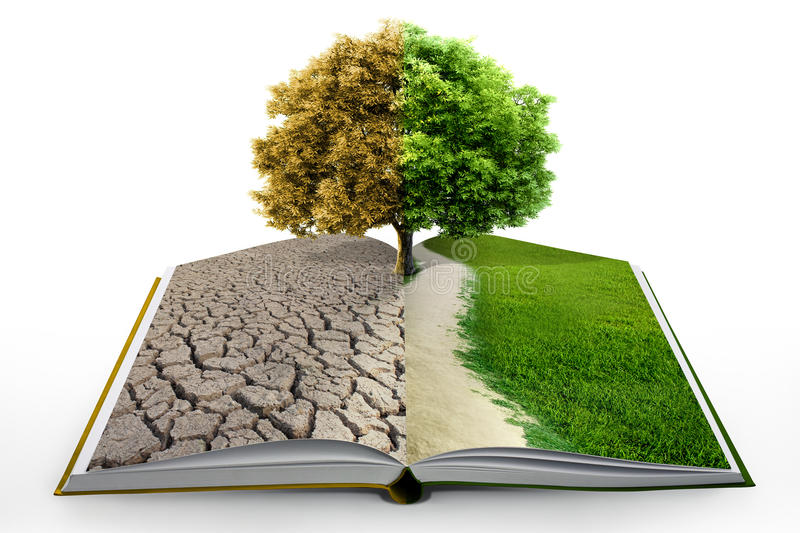 Open book with green nature stock illustration