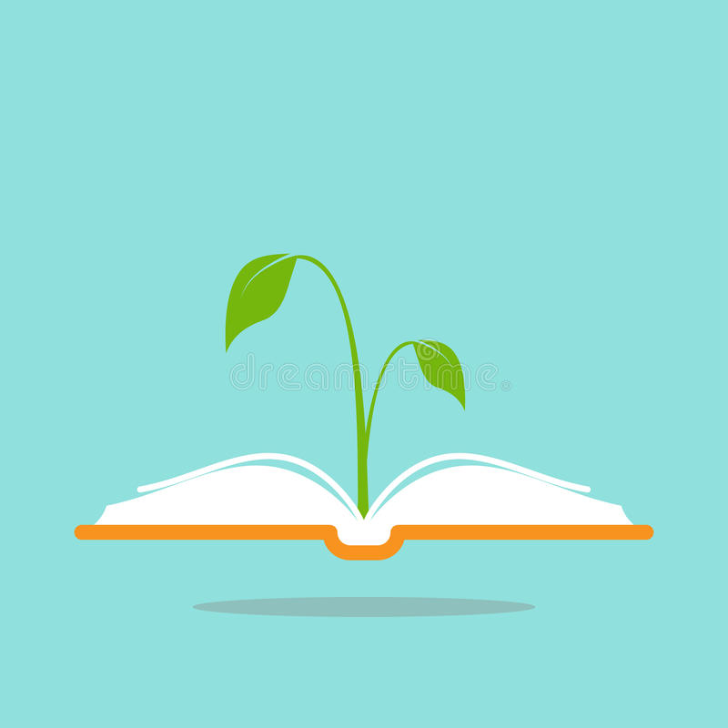 Open book with green sprig or sprout. Flat icon isolated on turquoise background. royalty free illustration