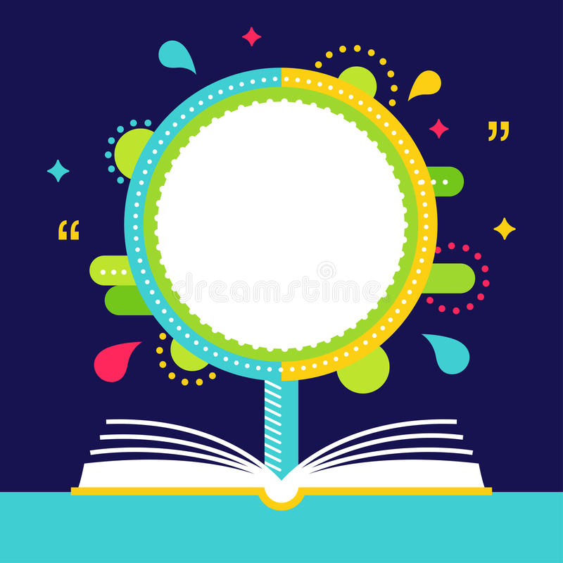 Open Book and Growing Tree with Space for Quote. Reading Concept stock illustration