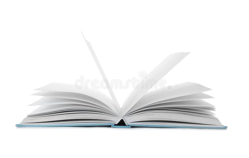 Open book with hard cover. On white background stock images