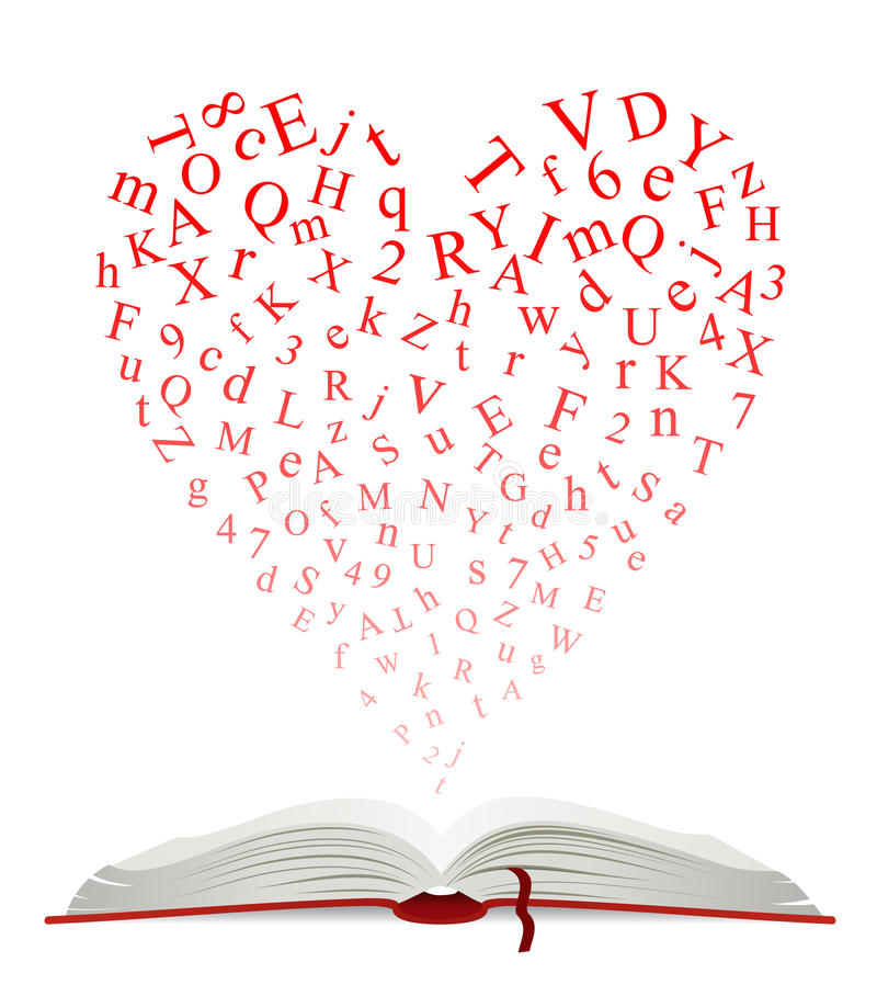 Open book with heart of letters royalty free illustration