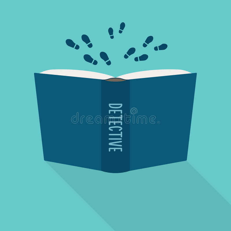 Open book icon. Concept of detective, literary fiction genre. Vector royalty free illustration