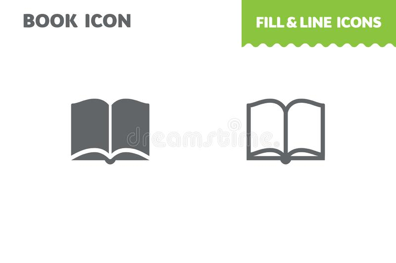 Open book icon, vector. Fill and line. Flat design. Ui icon royalty free illustration