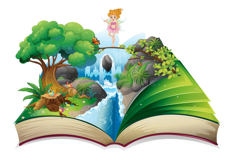An open book with an image of a fairy land. Illustration of an open book with an image of a fairy land on a white background stock illustration