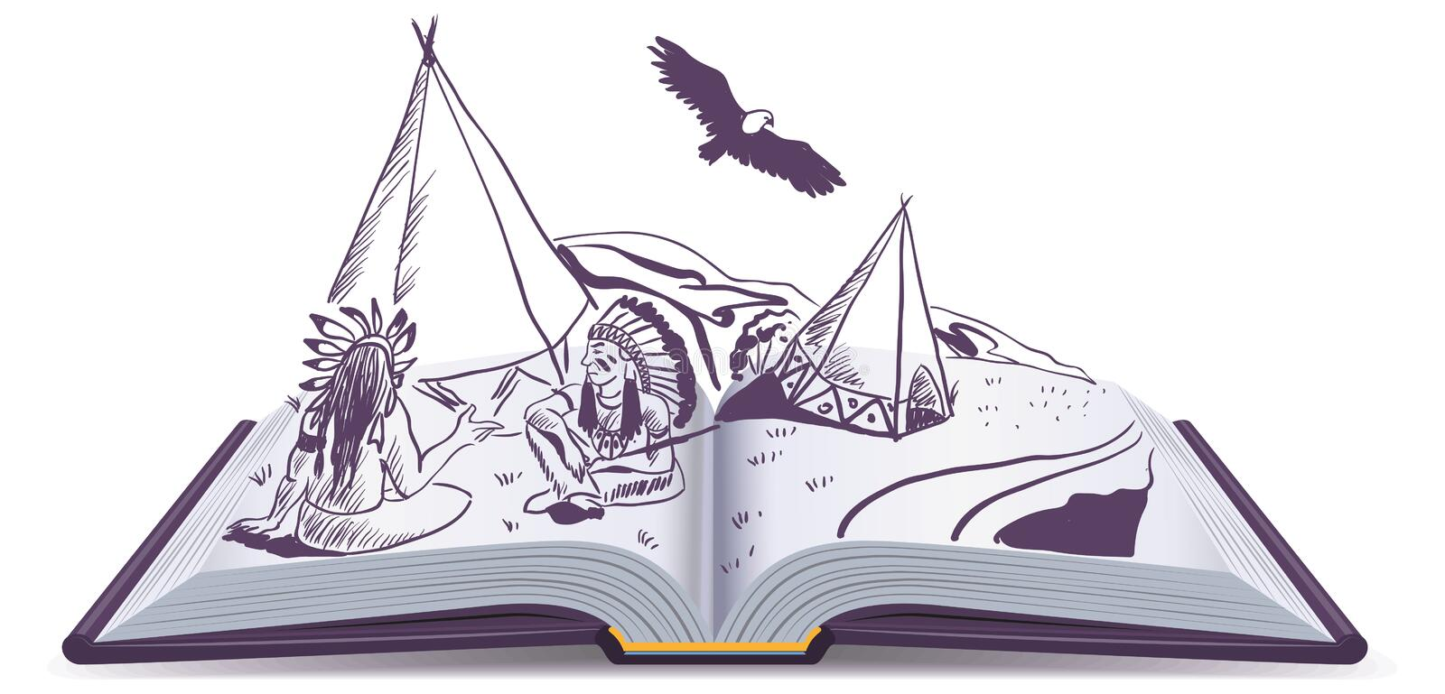 Open book. Indians sit at wigwam on pages of open book. Adventure story royalty free illustration