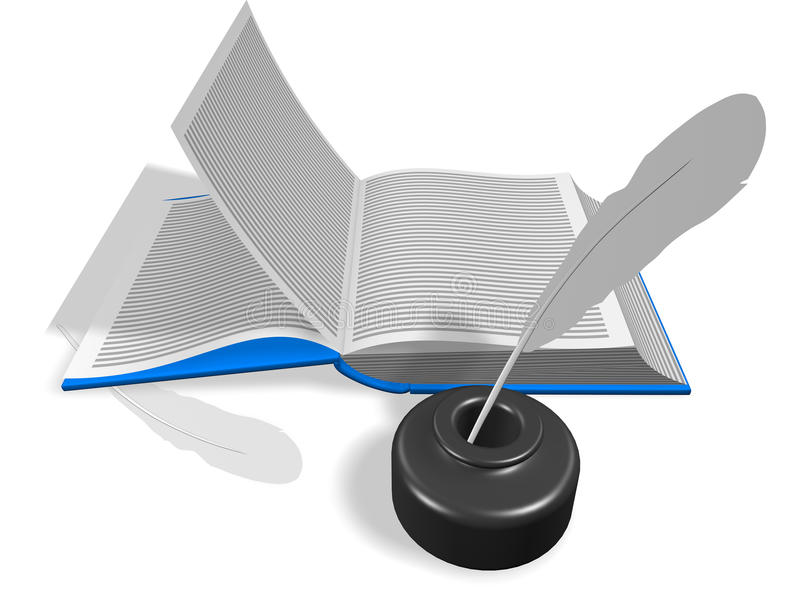 Open Book With Inkwell And Pen Stock Images