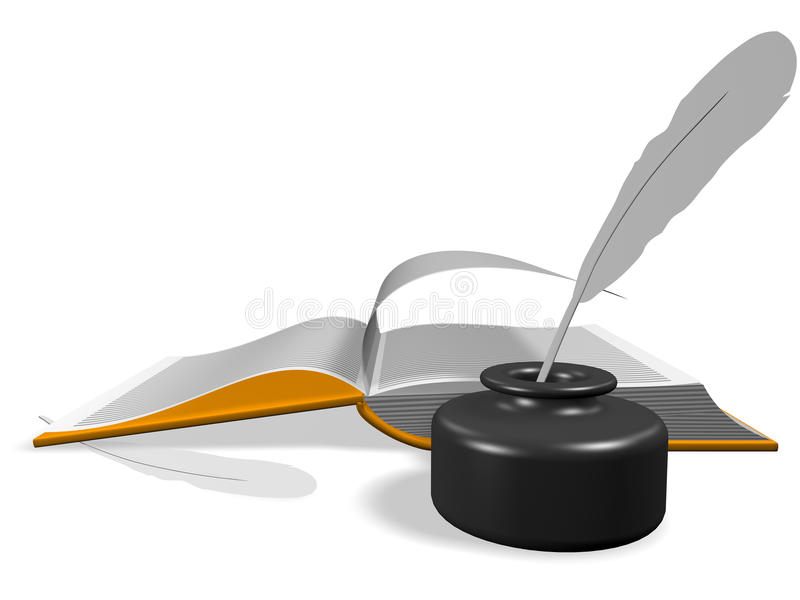 Download Open Book With Inkwell And Pen Stock Illustration - Image: 13262580