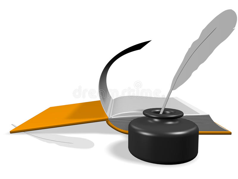 Download Open Book With Inkwell And Pen Stock Illustration - Image: 13546008
