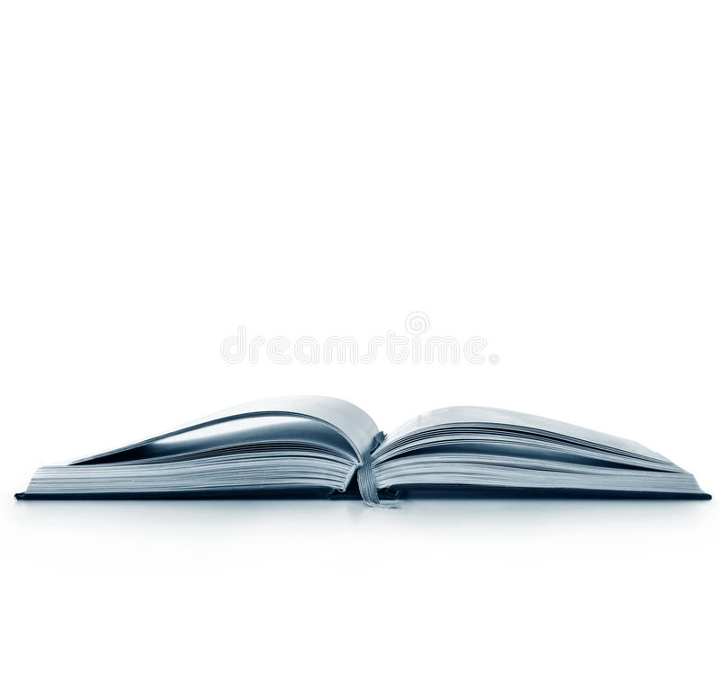 Open Book Isolated. Open book, isolated on white. Cyan tone royalty free stock photo