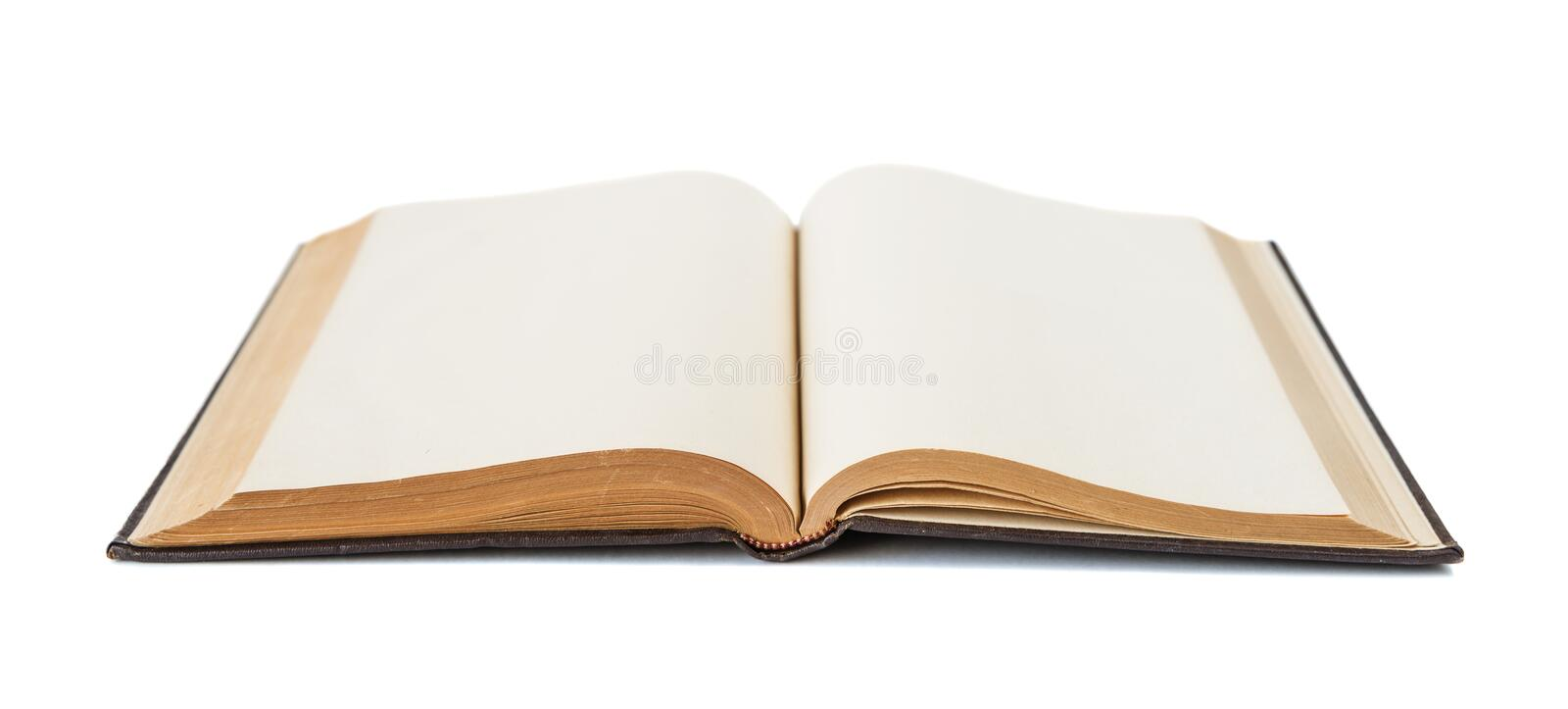 Open book isolated on white. Open book with yellowed empty pages isolated on white background stock images