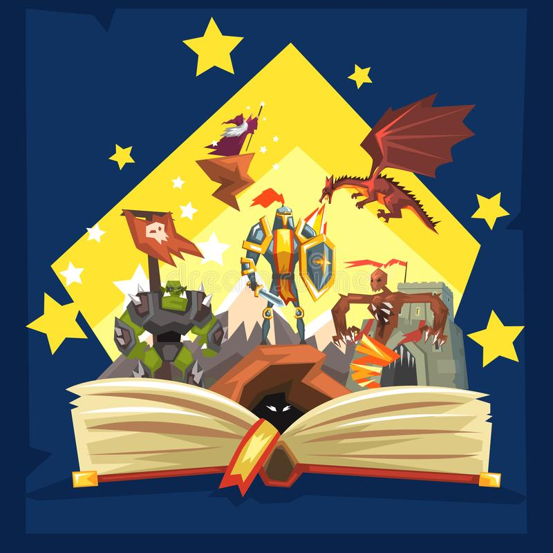 Open book with legend, fairy tail fantasy book with knights, dragon, wizard, imagination concept stock illustration