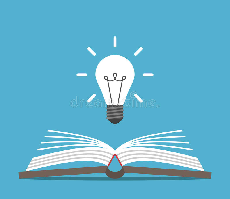 Open book and lightbulb stock images