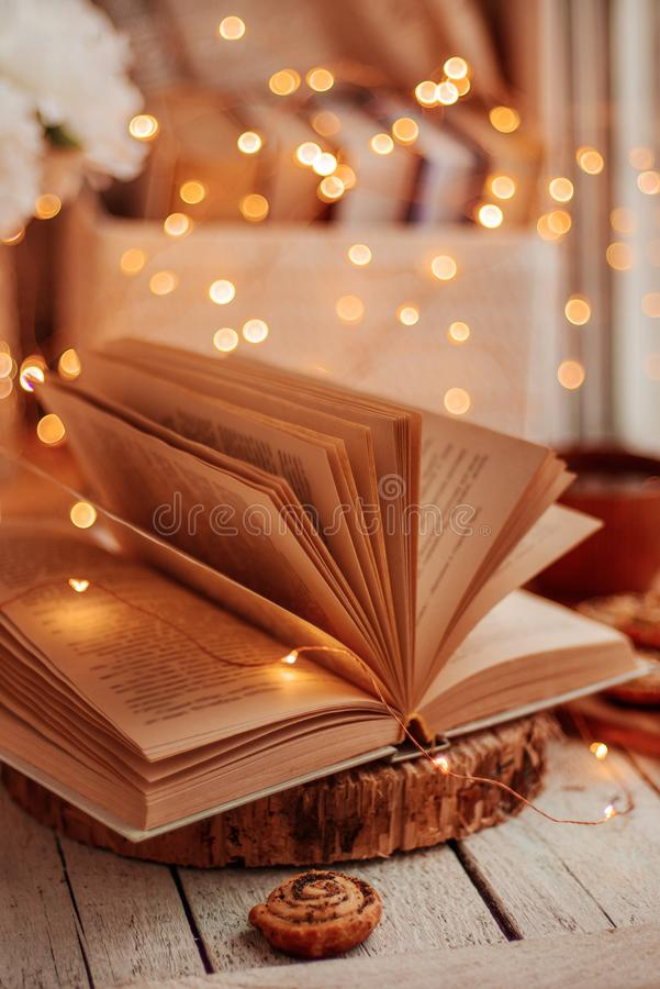 Open book with lights royalty free stock photography
