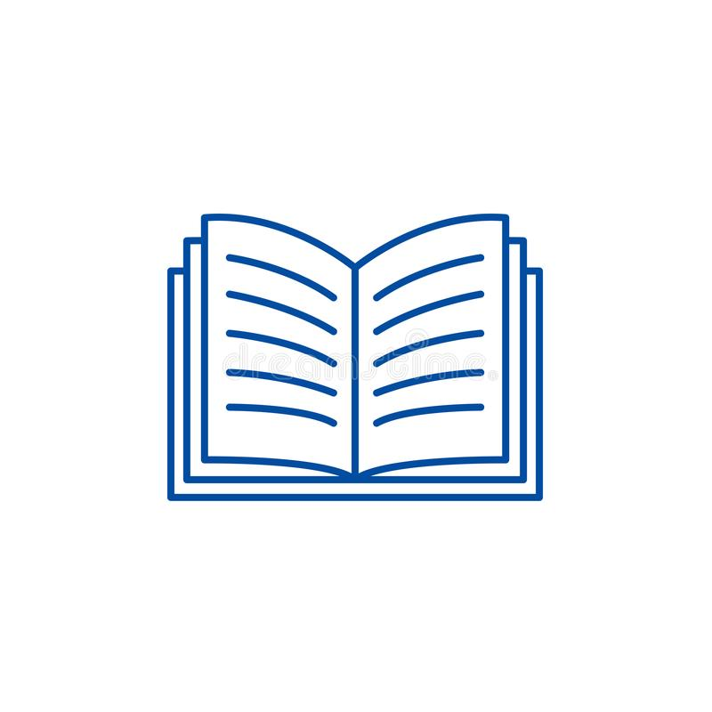 Open book line icon concept. Open book flat  vector symbol, sign, outline illustration. vector illustration
