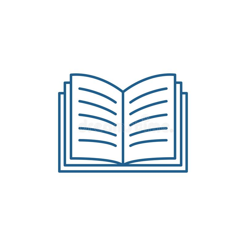 Open book line icon concept. Open book flat  vector symbol, sign, outline illustration. royalty free illustration