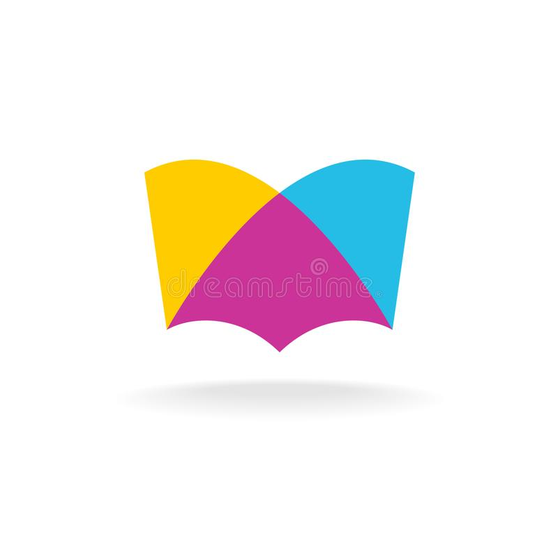 Open book logo. Colorful overlay flat style. Transparency are flattened vector illustration