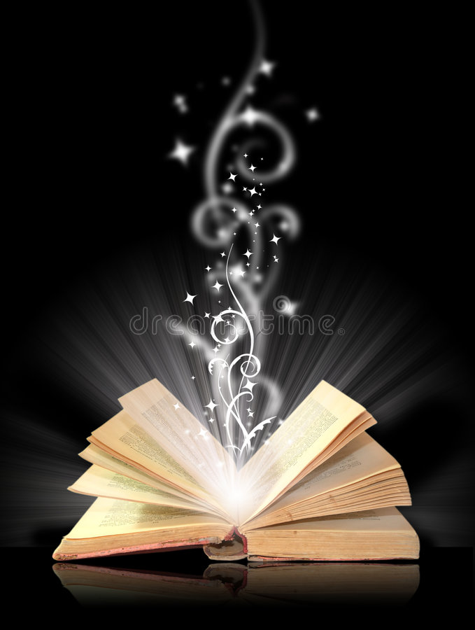 Open book magic royalty free stock photo