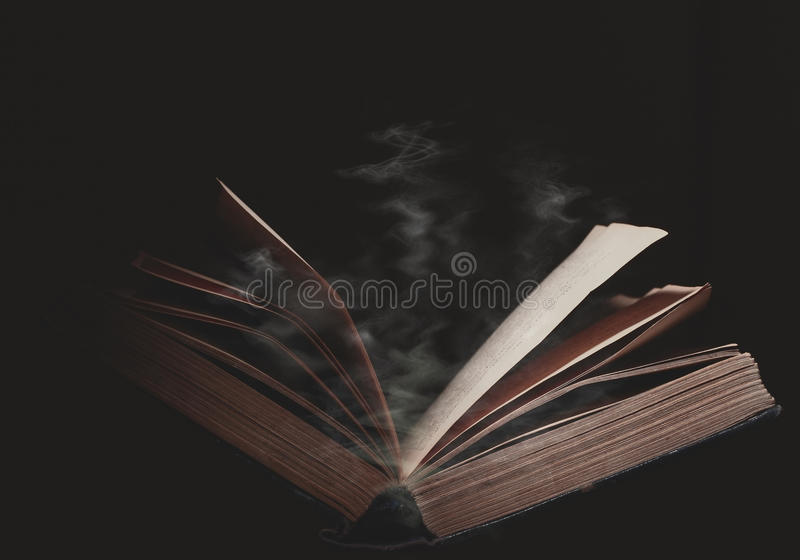 Open book in the magic haze stock images
