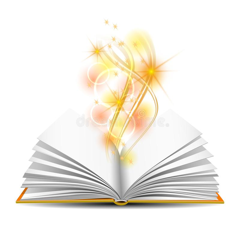 Open book with magic light royalty free illustration