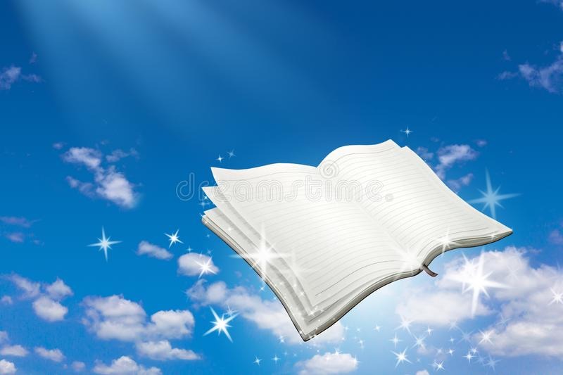 Open book with magic sparkle flying on blue sky background. Reading and Writing concept. Open book royalty free stock image