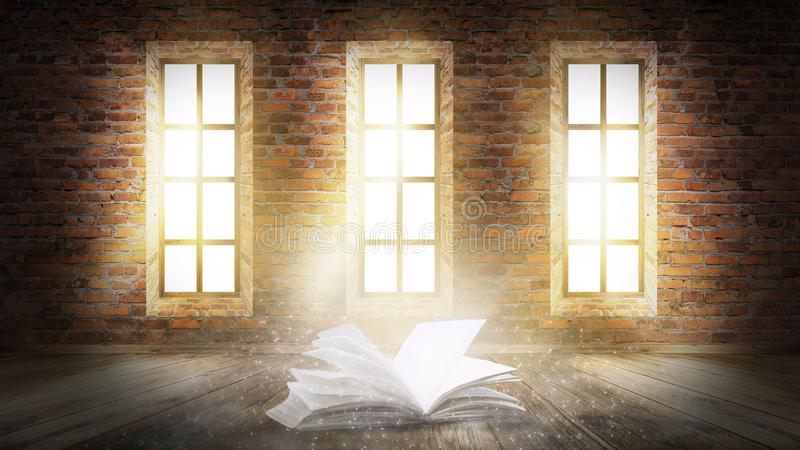 An open book with a magical fantasy. Night view illustration with a book. royalty free stock photo