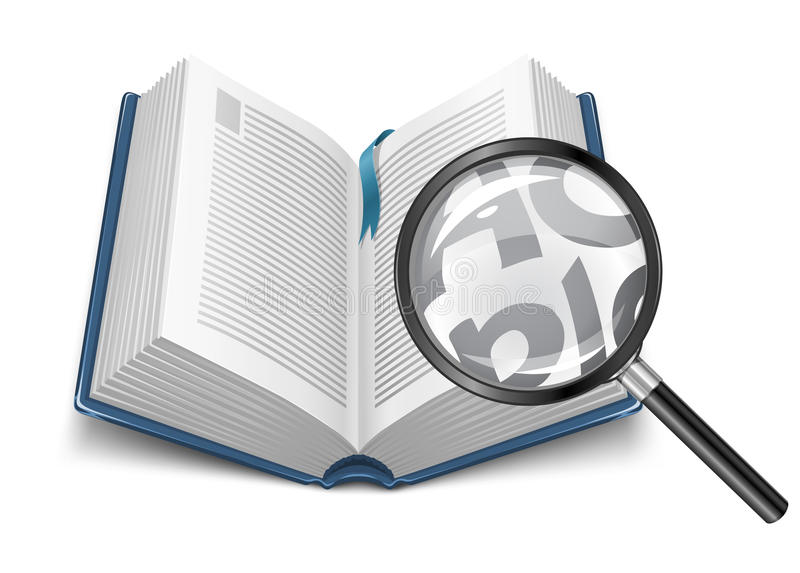 Open Book With Magnifying Glass Stock Illustration