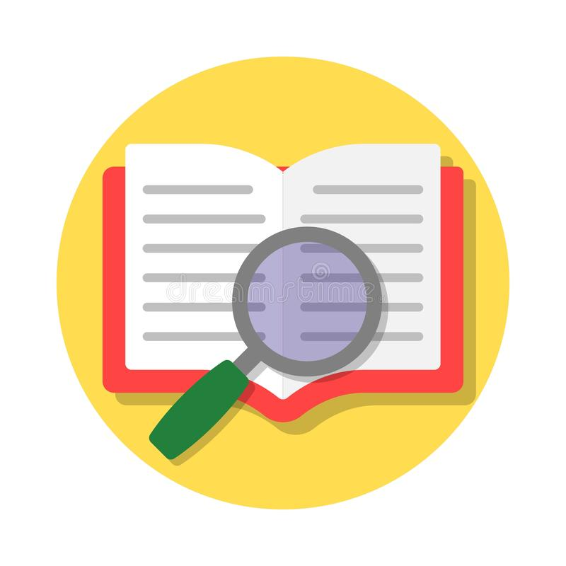 Open book and magnifying glass stock illustration