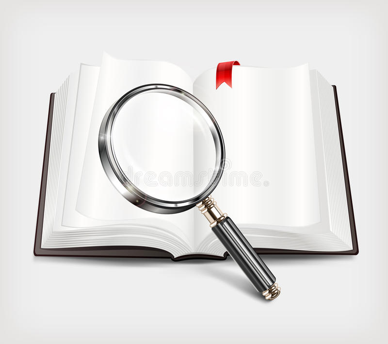 Download Open Book And Magnifying Glass On White Stock Vector - Illustration of textbook, stack: 30273517