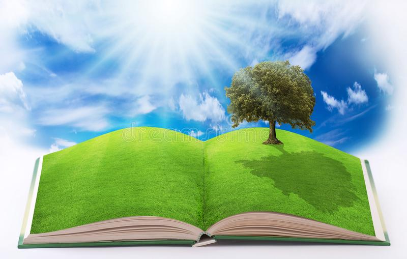 Open book on nature. Open book with pages illustrated by a green nature and a serene and ecological environment royalty free stock image