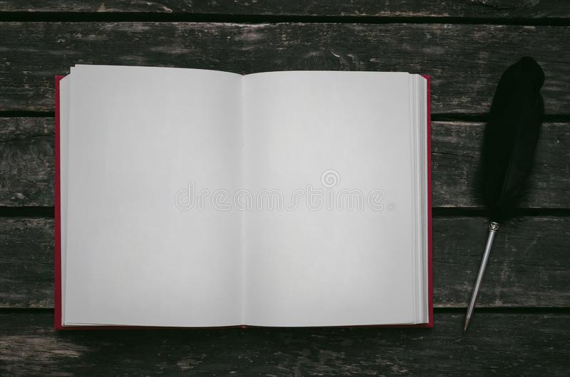 Open book. Open book with empty blank pages and feather pen on the table stock image