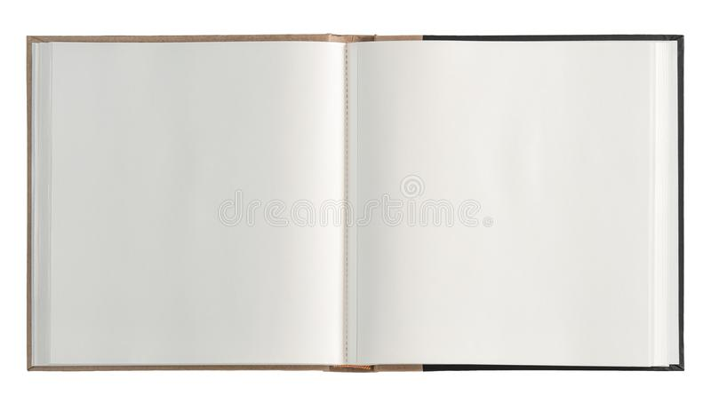 Open book isolated white background. Open book open isolated on white background. Paper pages royalty free stock photo