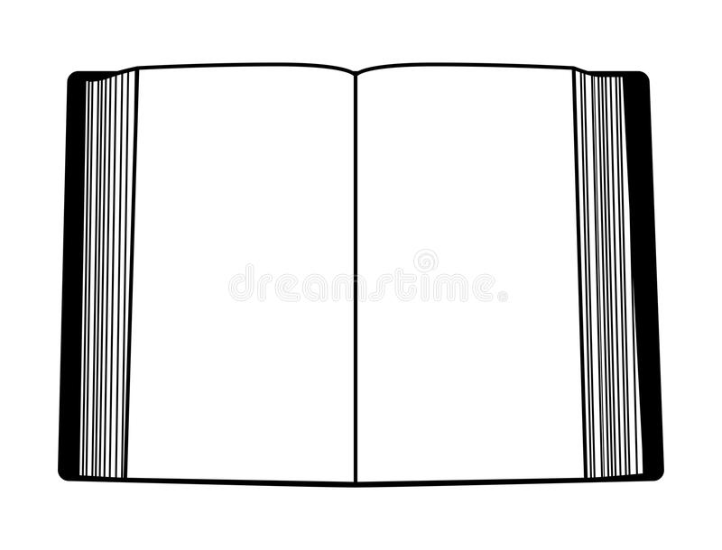 Open book outline isolated on white background.  royalty free illustration