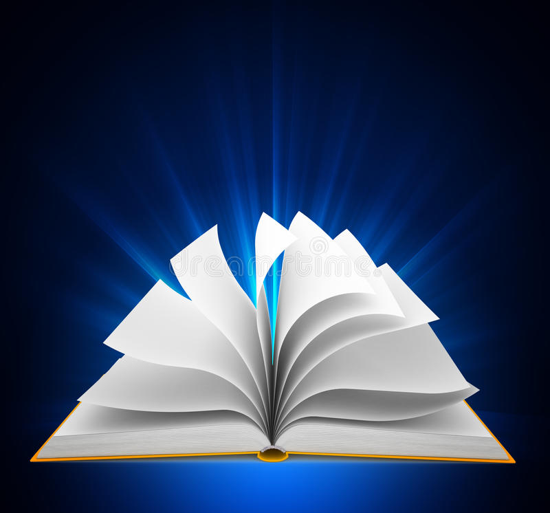 Free Open Book Over Blue Background Royalty Free Stock Photography - 25104237