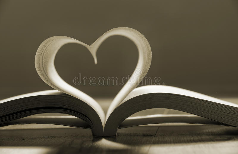 Download Open Book With Pages Forming Heart Shape . Stock Photo - Image: 37184840