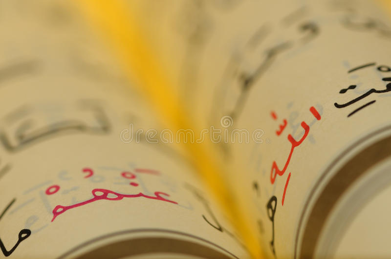OPEN BOOK PAGES OF HOLY KORAN royalty free stock photography