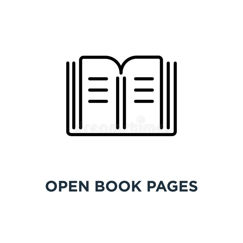 Open book pages icon. Linear simple element illustration. Librar vector illustration
