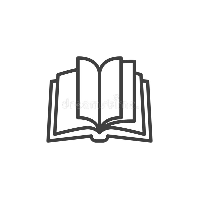 Open book pages line icon. Linear style sign for mobile concept and web design. Book outline vector icon. Knowledge symbol, logo illustration. Vector graphics stock illustration