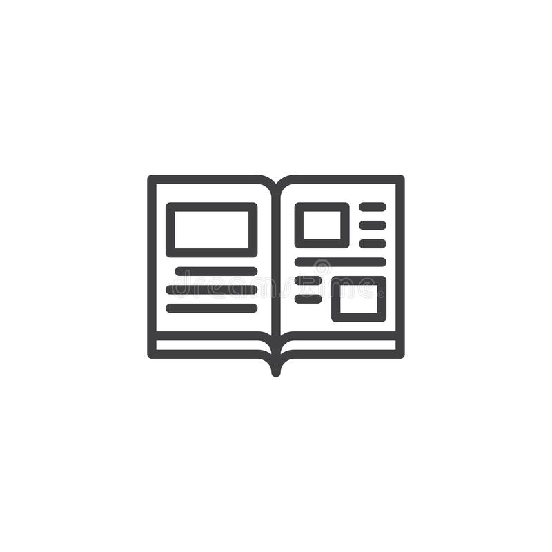Open book pages outline icon stock illustration