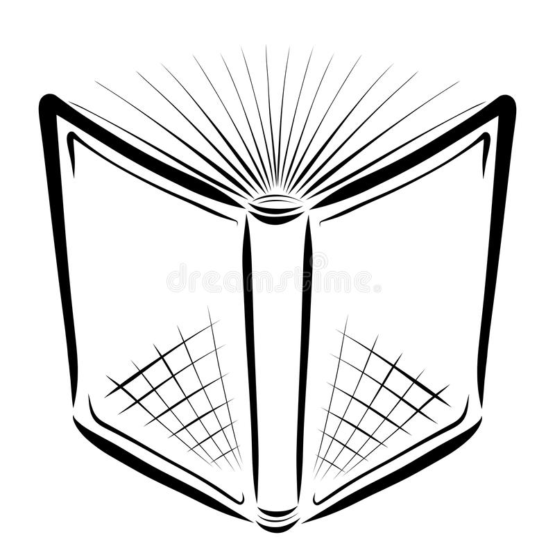 Open book with pages similar to the rays of the sun.  royalty free illustration