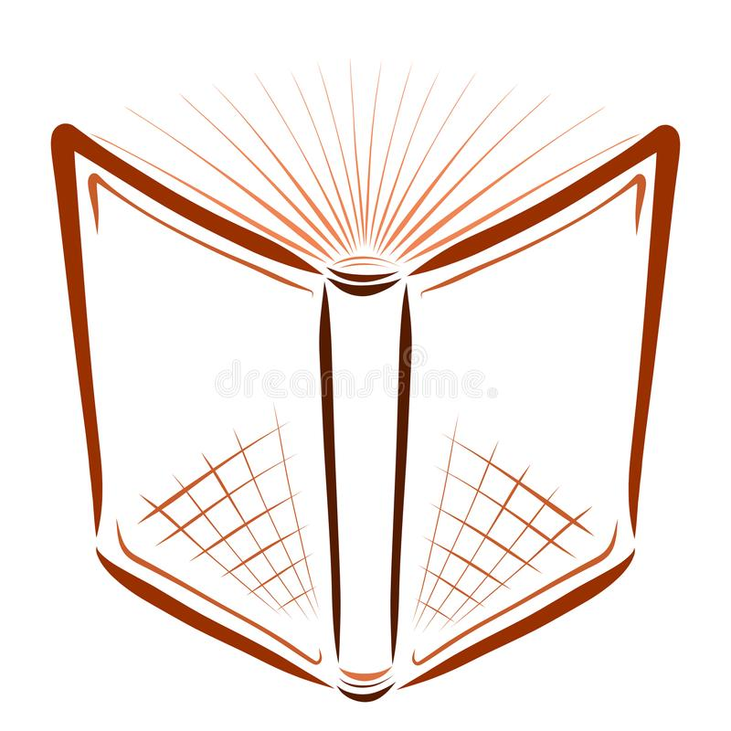 Open book with pages similar to the rays of the sun.  stock illustration
