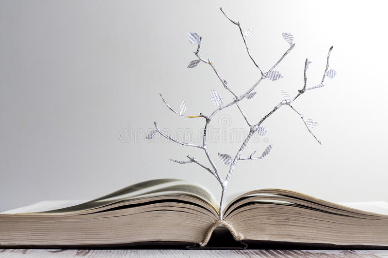 Open book and paper letters tree concept stock images