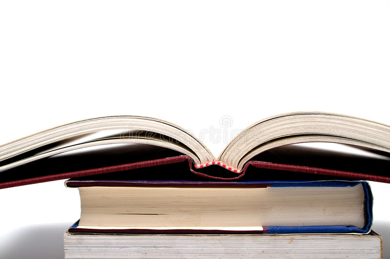 Download Open book on pile stock photo. Image of studying, pages - 5570382