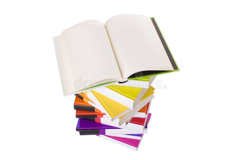 Download Open Book And Pile Of Books Stock Photo - Image of empty, blank: 6095300
