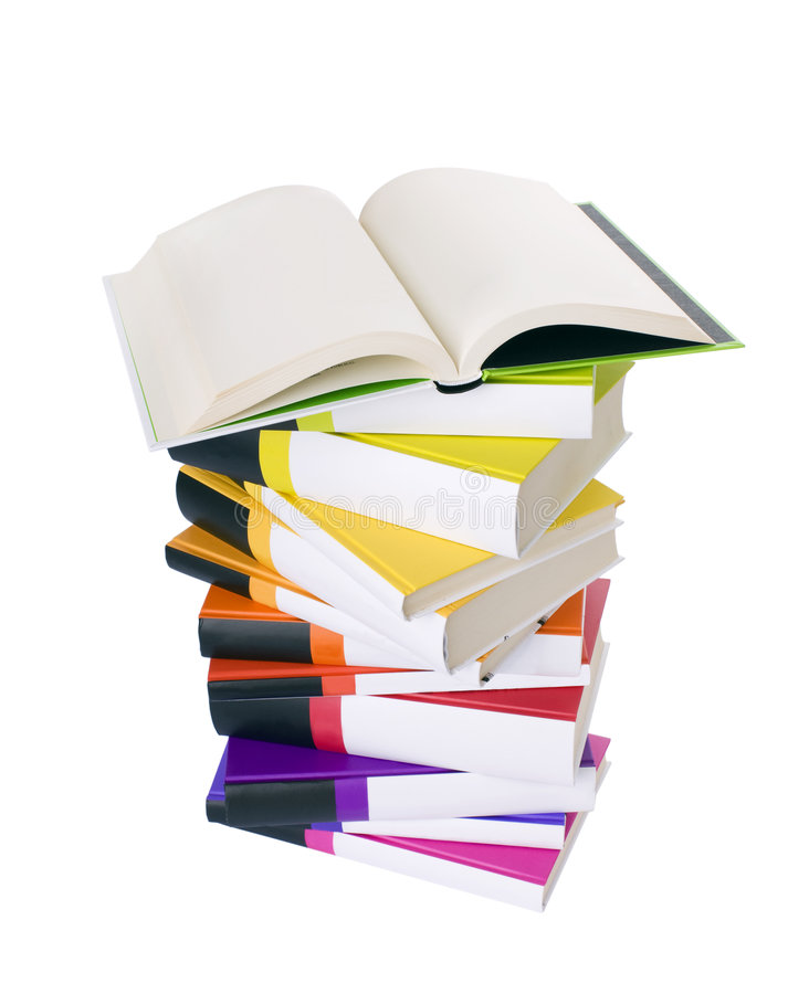 Open book and pile of books
