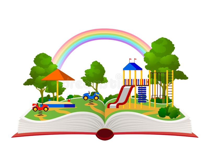 Open book playground. Fantasy garden, learning amusement park green forest library, child books daydream landscape flat. Vector holiday cartoon playing children royalty free illustration