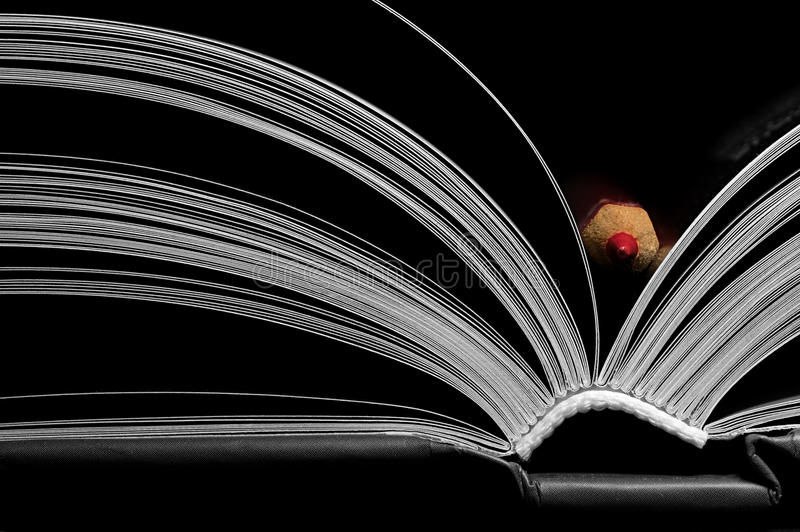 Open book with red pencil stock photo